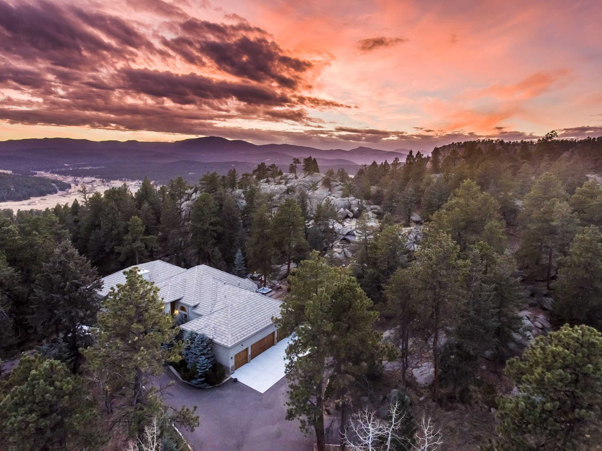 Luxury Residential Real Estate Twilight/Sunset Aerial